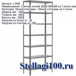 Стеллаж легкий 2200x1000x600 на 7 полок (нагрузка 60 / 500 кг.)