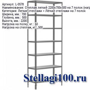 Стеллаж легкий 2200x700x500 на 7 полок (нагрузка 60 / 500 кг.)