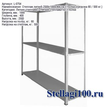 Стеллаж легкий 2500x1000x400 на 3 полки (нагрузка 80 / 500 кг.)