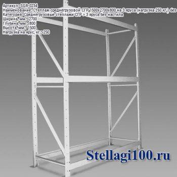 Стеллаж среднегрузовой СГР 1500x2700x800 на 3 яруса (нагрузка 250 кг.) без настила
