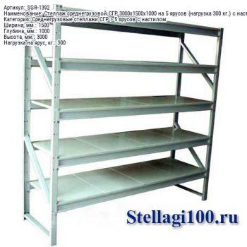 Стеллаж среднегрузовой СГР 3000x1500x1000 на 5 ярусов (нагрузка 300 кг.) c настилом (с полимерным покрытием)
